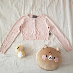 Kids cute light pink cardigan with lace detail